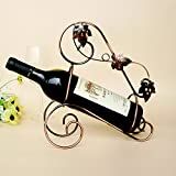 SHINA European Vintage Style Portable Wine Rack Iron Metal Bottle Iron Holder