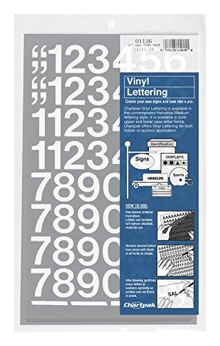 Chartpak Self-Adhesive Vinyl Numbers, 1 Inch High, White, 44 per Pack (01136) ()