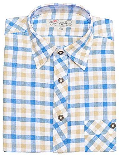 Lekra Trachtenhemd Herren langarm Hemd blau beige kar blau/beige