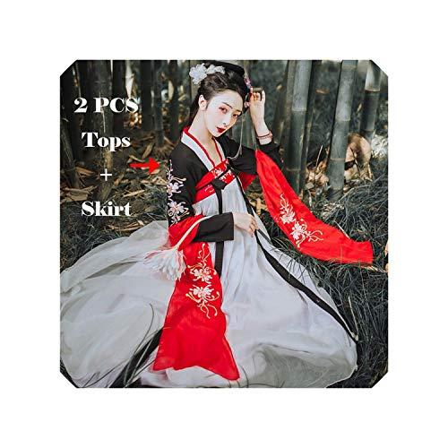 Women Dance Costume Hanfu Black Red Traditional