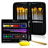 Acrylic Paint Brush Set With 15 Premium Artist Brushes And Bonus 24 Color Acrylic Paint - Ultimate Kit For Canvas, Wood, Ceramic, Fabric - Perfect Gift For Beginners, Adults, Students Or Professionals