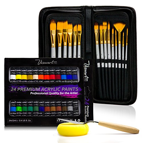 Acrylic Paint Brush Set With 15 Premium Artist Brushes And Bonus 24 Color Acrylic Paint - Ultimate Kit For Canvas, Wood, Ceramic, Fabric - Perfect Gift For Beginners, Adults, Students (Artists Paint Brushes)