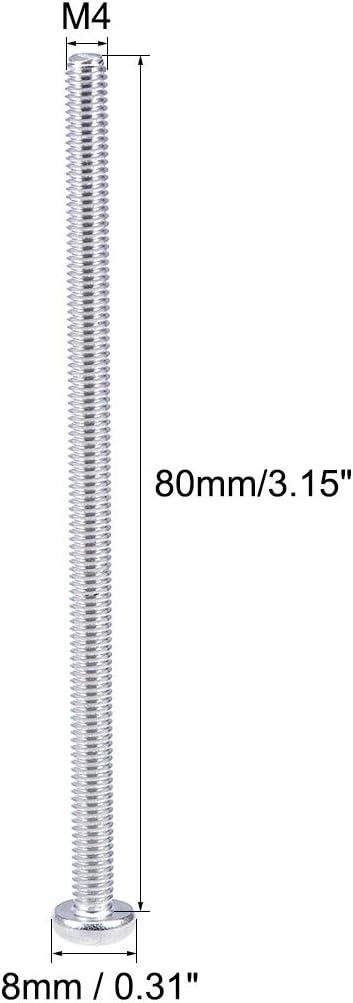 sourcing map 20 Stk Maschinenschrauben Platte Kreuzschlitzschrauben Bolzen M4x80mm