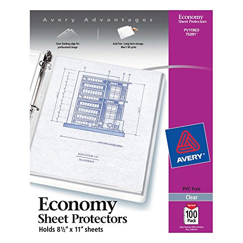 Avery 5007771175091 Economy Clear Sheet Protectors, Acid Free, Letter Size, Box of 100, Case Pack of 5 ()