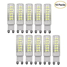 Dayker G9 LED Bulbs, 7W Caremic Base JD Type Lightbulb, 6000K Daylight, 60W Halogen Bulb Replacement for Closet Accent Interior Cabinet Lighting (10 Packs)