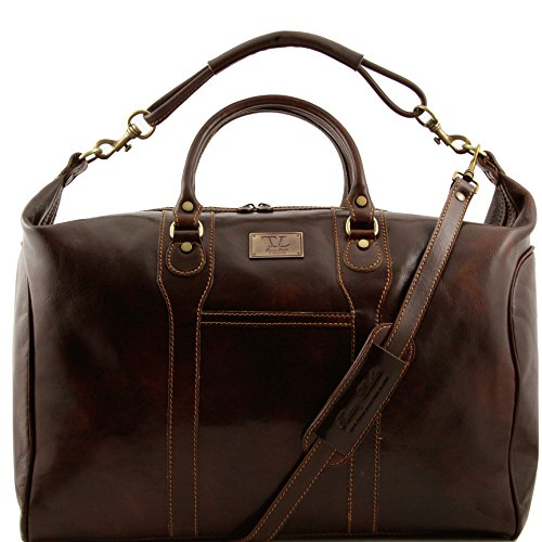 Tuscany Leather Amsterdam Travel leather weekender bag Dark Brown by Tuscany Leather