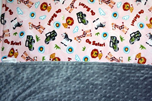 Minky Blanket - Baby Blanket, Toddler Blanket, Child Blanket - Animal and Jeep Safari Print with Grey Dimple Dot (Medium (@29''X35''), Baby Pink)
