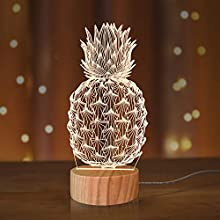 Pineapple Lights,3D Illusion Table Lamp Warm Colors 3D Lighting with USB Power(Pineapple)