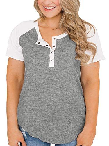Plus Size Tops Henley Shirts for Women Raglan Baseball Tee Light Grey 18W