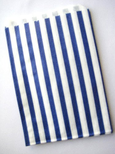 30 CANDY STRIPE – CAKE FAVOUR PARTY BUFFET SWEET BAG -5×7 INCH LUCKY DIP PAPER BAGS – PICK YOUR COLOUR (Blue)