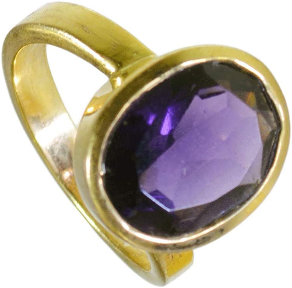 Jewelryonclick Natural Gold Plated Amethyst Rings for Women Fashion Jewelry Gift Size 5,6,7,8,9,10,11,12