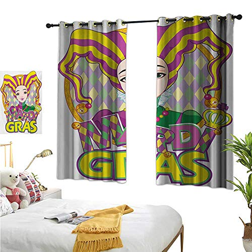 Mardi Gras Thermal Insulating Blackout Curtain Carnival Girl in Harlequin Costume and Hat Cartoon Fat Tuesday Theme W55 x L39,Suitable for Bedroom Living Room Study, etc.]()