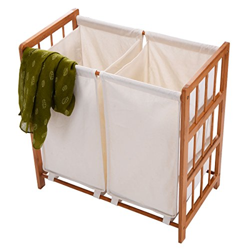 Edxtech Household Bamboo Frame Laundry Sorter Hamper Clothes Storage Basket Bin with Bag
