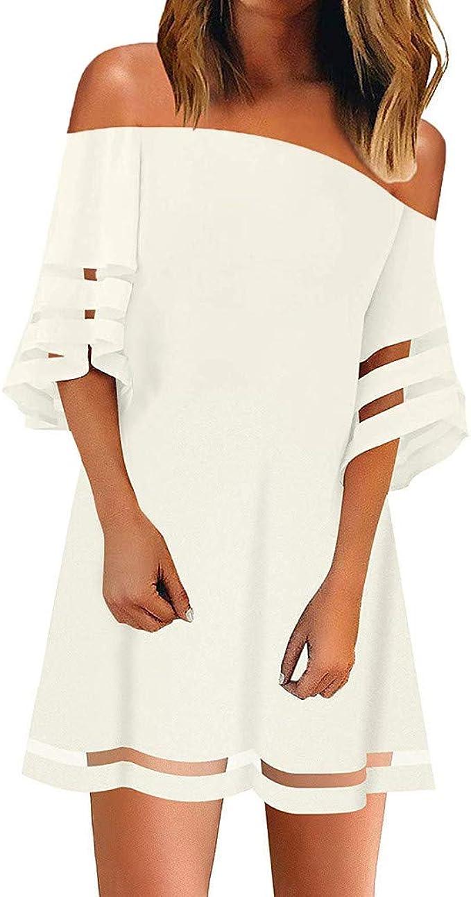 Feytuo Damen Kleid Weiß Schwarz Tüll Sexy Plus-Size-Abendkleider