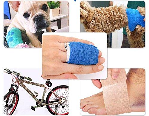 YUMAI vendaje cohesivo de primeros auxilios cinta autoadhesiva 5CM Paquete de 6, Paquete de 12 aprobado por la FDA… 14