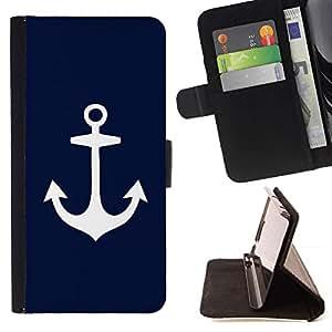 For LG G4 Stylus / G Stylo / LS770 H635 H630D H631 MS631 H635 H540 H630D H542 Case , Blue Anchor Marinero Marinero minimalista- la tarjeta de Crédito Slots PU Funda de cuero Monedero caso cubierta de piel