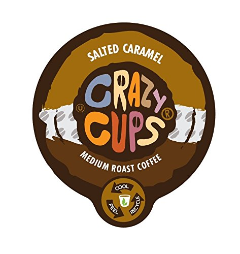Caramel Cups - Crazy Cups Flavored Coffee, for the Keurig K Cups 2.0 Brewers, Salted Caramel, 22 Count