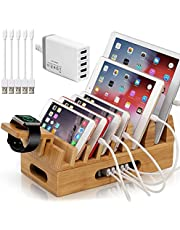 BEEBO BEABO Bamboo Charging Station, Wood Docking Stand Device Organizer with, Desk 7 slots Wood Docking Stations Device Organizer for Cell Phone, Tablet. (Include 5 Port USB Charger, 5 Charger Cables and Watch Stand)