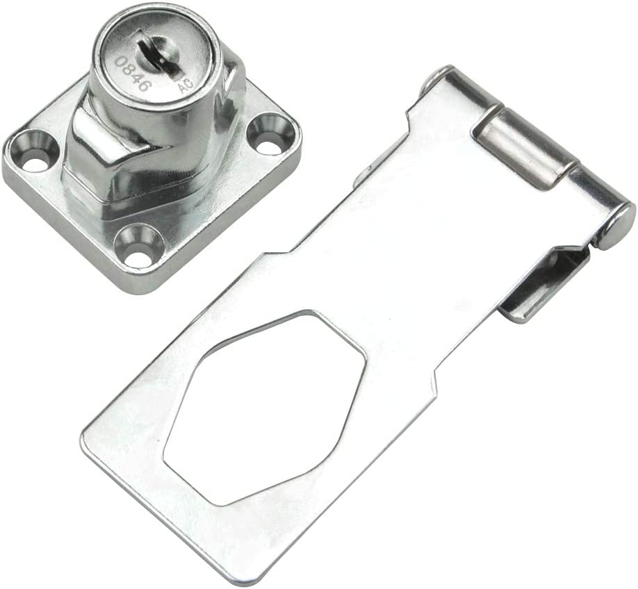 ,Safety Locking Hasp w//Screws for Door Cabinet,Key Alike 3 x 1-1//4 TOVOT 4 Pack Keyed Hasp Locks -Twist Knob Keyed Locking Hasp Chrome