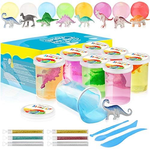 (Growsland Slime Kit DIY Crystal Fluffy Slime Supplies Toys for Girls Boys 21.5 OZ 8 Colors Stretchy Non Sticky Clear Slime Putty Gifts, Includes Slime Containers, Glitters and Tools)
