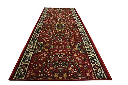 Runner Mahal Rug - RugStylesOnline Custom Size Runner Persian Oriental Isfahan Mahal Design Roll Runner Dark Red 26 Inch Wide x Your Length Size Choice Slip Skid Resistant Rubber Back (Dark Red, 5 ft x 26 in)