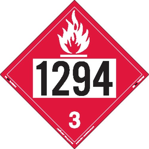 Labelmaster ZT2-1294 UN 1294 Flammable Liquid Hazmat Placard, Tagboard (Pack of 25)