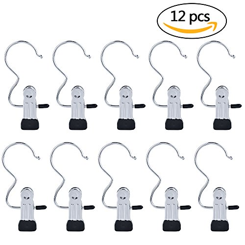 'Yookat 12 PCS Portable Laundry Hook Boot Clips Hanging Clothes Pins Hanger Heavy Duty Stainless steel Home Travel Clothing Boot Hanger Hold Clips Multi-functional Organizer Pants Shoes Towel Clip' from the web at 'https://images-na.ssl-images-amazon.com/images/I/5108VoqIjwL.jpg'