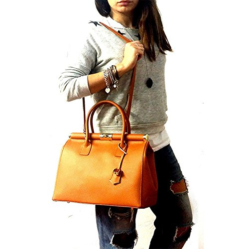 BAG LEATHER pour jaune Sac main femme LUXURY à S5f6qqw