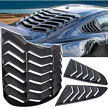 Sporthfish Matte Black ABS Rear Window Louvers and Quarter Side Window Scoop Louvers Fits for Ford Mustang 2015 2016 2017 2018
