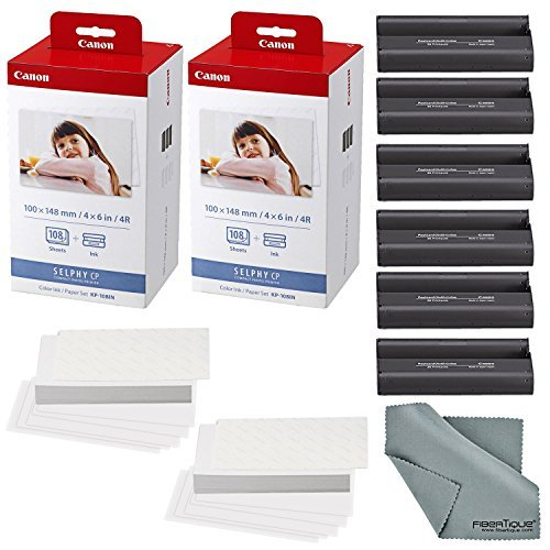 Canon KP-108IN Color Ink and Paper Set Includes Total of 216 Sheets and 6 Ink Cartridges and Fibertique Cleaning Cloth