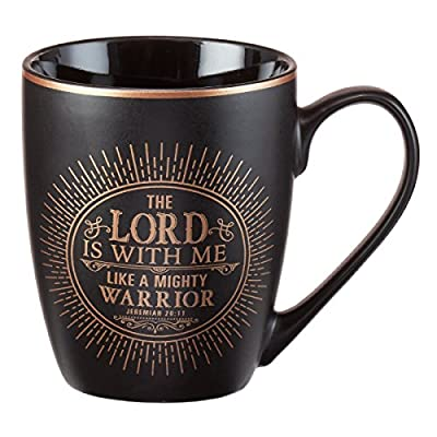 Christian Encouragement Gifts for Men - Matte Black Coffee Mug w/Metallic Font Scripture Verses - 12oz Stoneware Mug, Christian Cup w/Handle