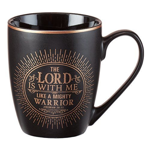 Christian Encouragement Gifts for Men - Matte Black Coffee Mug w/Metallic Font Scripture Verses