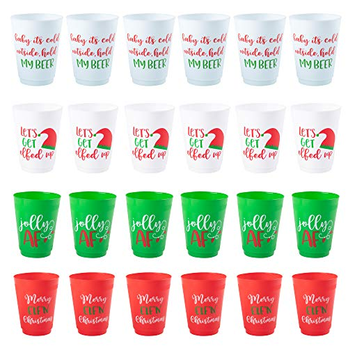 Christmas Plastic Party Cups - 24-Pack Reusable Tumblers, 16-Ounce Plastic Cups Holiday Party Supplies, 4 Assorted Festive Drinking Pun Designs, Red, Green, and White, 3.5 x 4.5 Inches