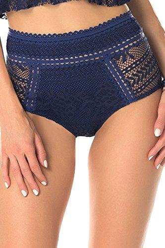 Becca by Rebecca Virtue Women's High Waist Bikini Bottom Dark Denim L