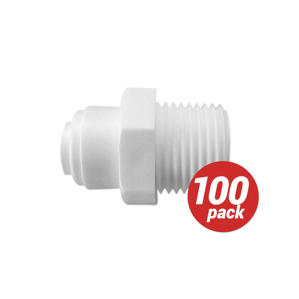 100 x Male Connector 1/4'' Push Fit Tube x 1/4'' Thread Male Quick Connect RO