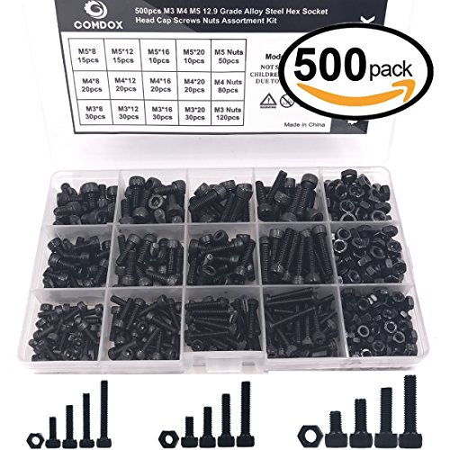 Comdox 500pcs Alloy Steel Socket Cap Screws Hex Head Bolt Nuts Assortment Kit with Box, M3 M4 M5 Thread Size, Black Oxide Finish