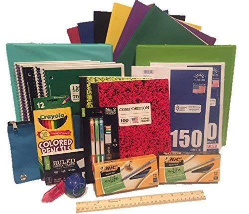 Secondary School Supply Pack - 25 Essential Items for College, High School or Middle School. Includes Pencils, Paper, Binders, Notebooks, Folders and More! 25 piece bundle by Crayola, Bic, Fiskars