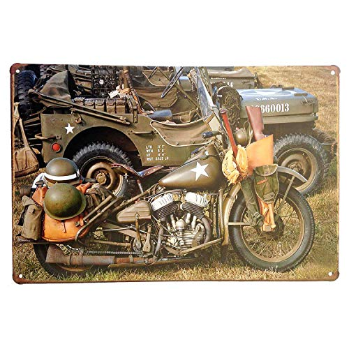 UNIQUELOVER Millitary Motorcycle Retro Vintage Metal Tin Sign 12