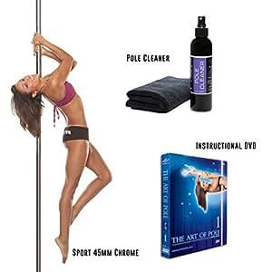 X-Pole Sport Package (Sport 45mm Chrome Portable Dance Pole + X-Clean Pole Cleaner + Instructional DVD) (Paquete Sport)