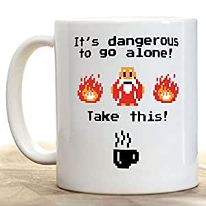 It's Dangerous to Go Alone... Take This! 11oz Ceramic Coffee Mug by Moslion