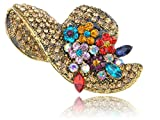 Alilang Golden Tone Multi Rhinestones Colorful Floral Floppy Sun Hat Brooch Pin