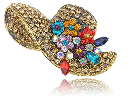 - Alilang Golden Tone Multi Rhinestones Colorful Floral Floppy Sun Hat Brooch Pin