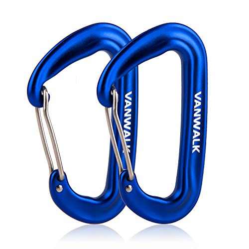 12KN Aluminium Wiregate Carabiners 2 Pack Rated 2645 LBS each – 7075 VANWALK Lightweight Sapphire Carabiner Clips for Hammock Climbing Rocking