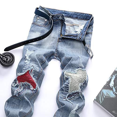 De Fermeture Éclair Base Denim Hommes Patchwork Jeans ✿men's Zipper Bleu1 ✿jeans Pantalon Frayed Folds Basic Pants À Pour Wash Alikeey Vintage Work Pwg4xq78