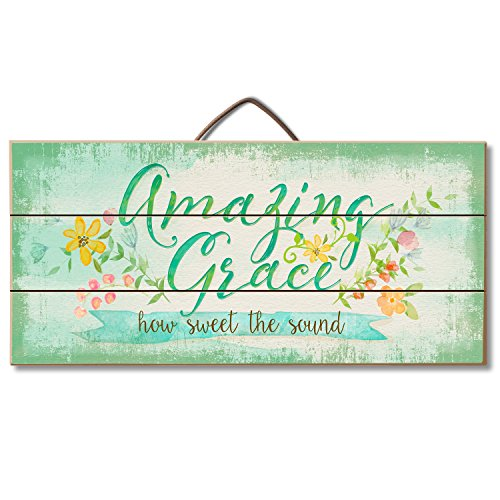 "Highland Woodcrafters Wood ""Amazing Grace, How Sweet the Sound"" Inspirational Sign for Table or Wall Decor,Green Yellow Pink"