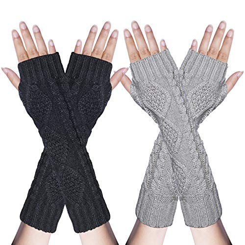 2 Pair Women's Hand Crochet Winter Warm Fingerless Arm Warmers ()