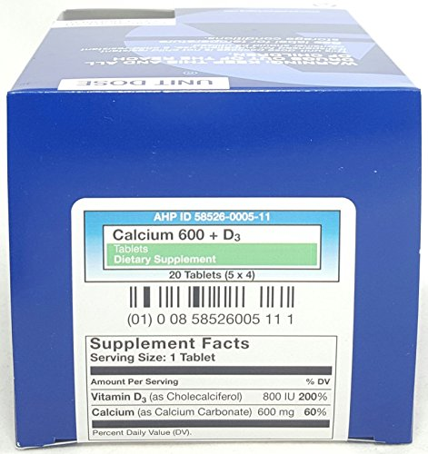AMERICAN HEALTH Calcium 600 + D3 Tablets, 20 Count Per Box (6 Boxes) by American Health