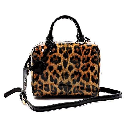 Elphis Leopard Glossy Animal Printed Box Satchel Crossbody Bag Purse (L049) (Black)