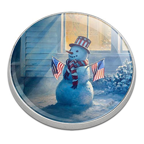 Snowman Golf Ball - GRAPHICS & MORE Patriotic Snowman American Flag Christmas Golfing Premium Metal Golf Ball Marker