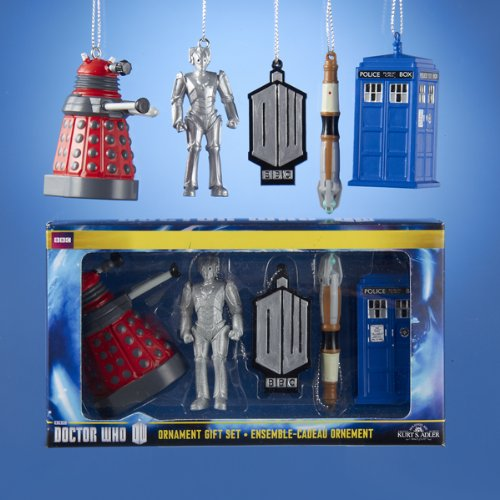 DOCTOR WHO Mini 5 piece Boxed Set of Christmas Ornaments NEW Dalek Tardis by Kurt Adler (Tardis Mini)